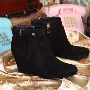 Tory Burch suede leather shirt wedge boots booties